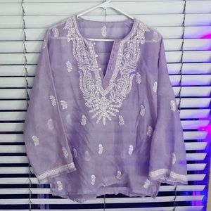 Women's lilac sheer lounge cover up